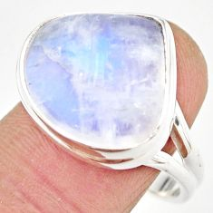 925 silver 11.93cts natural rainbow moonstone solitaire ring size 9 r21484