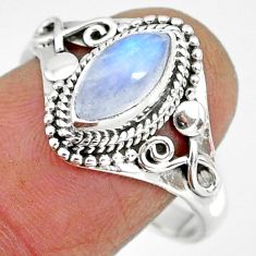 925 silver 2.71cts natural rainbow moonstone solitaire ring size 9 r92618