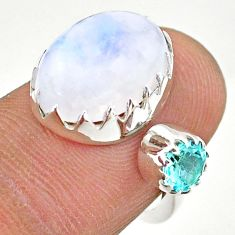 925 silver 7.62cts natural rainbow moonstone topaz adjustable ring size 6 t43496