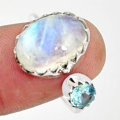 925 silver 7.60cts natural rainbow moonstone topaz adjustable ring size 7 r33358