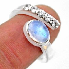 925 silver 3.53cts natural rainbow moonstone topaz adjustable ring size 7 r54580