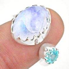 925 silver 6.88cts natural rainbow moonstone topaz adjustable ring size 8 t43515