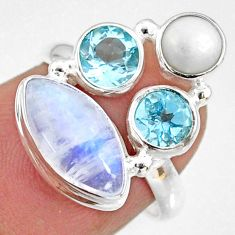 925 silver 8.07cts natural rainbow moonstone topaz pearl ring size 6.5 r63931