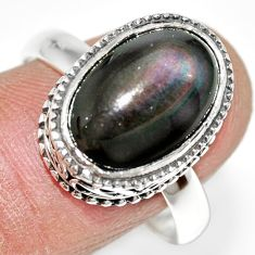 925 silver 6.33cts natural rainbow obsidian eye solitaire ring size 9.5 r21204