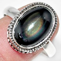925 silver 6.92cts natural rainbow obsidian eye solitaire ring size 9.5 r21220