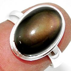 925 silver 6.72cts natural rainbow obsidian eye solitaire ring size 6.5 r39384