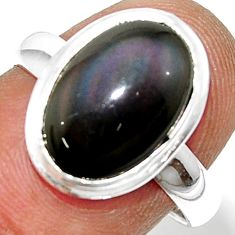 925 silver 5.84cts natural rainbow obsidian eye solitaire ring size 7.5 r39388