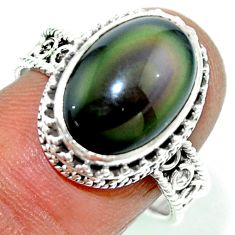 925 silver 7.02cts natural rainbow obsidian eye solitaire ring size 8.5 r53658