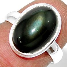 925 silver 5.80cts natural rainbow obsidian eye solitaire ring size 6 r39394