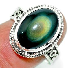 925 silver 6.80cts natural rainbow obsidian eye solitaire ring size 7 r53654