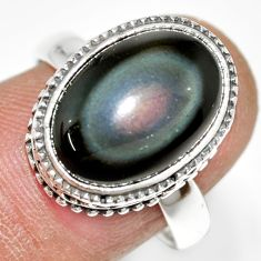 925 silver 6.18cts natural rainbow obsidian eye solitaire ring size 8 r21208