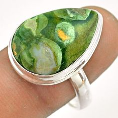925 silver 15.25cts natural rainforest rhyolite jasper pear ring size 9 t54382