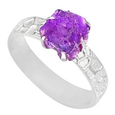 925 silver 2.53cts natural raw amethyst rough solitaire ring size 8 r79388