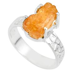 925 silver 7.04cts natural raw imperial topaz solitaire ring size 7.5 r79548