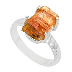 925 silver 5.13cts natural raw imperial topaz solitaire ring size 7 r79557