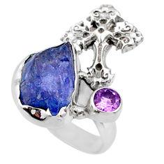925 silver 7.87cts natural raw tanzanite holy cross ring size 5.5 r66973