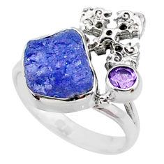 925 silver 7.62cts natural raw tanzanite holy cross ring size 7.5 r66980