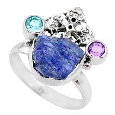925 silver 9.32cts natural raw tanzanite holy cross ring size 9 r66964