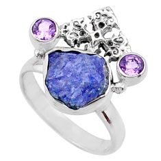 925 silver 8.94cts natural raw tanzanite holy cross ring size 9 r66969