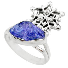 925 silver 8.31cts natural raw tanzanite snowflake ring size 7.5 r66977