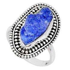 925 silver 7.67cts natural raw tanzanite solitaire ring size 7.5 r66712