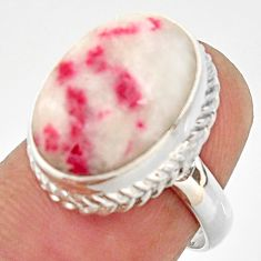 925 silver 9.65cts natural red cinnabar spanish solitaire ring size 6.5 r37876