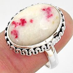 925 silver 13.24cts natural red cinnabar spanish solitaire ring size 7.5 r37880