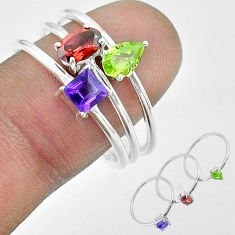 925 silver 2.97cts natural red garnet amethyst peridot 3 rings size 8.5 t51491