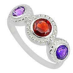925 silver 2.38cts natural red garnet amethyst round shape ring size 9 r83928