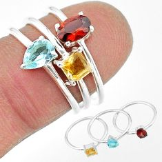 925 silver 2.44cts natural red garnet citrine topaz 3 rings size 6 t17684
