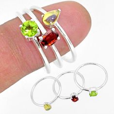 925 silver 3.15cts natural red garnet ethiopian opal 3 rings size 9 r93096