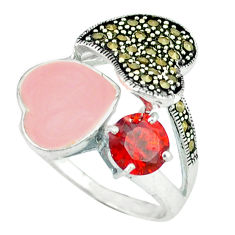 925 silver natural red garnet fine marcasite heart ring jewelry size 8.5 c18273