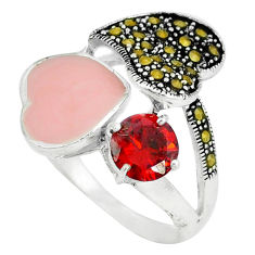 925 silver natural red garnet marcasite enamel ring jewelry size 8.5 c18277
