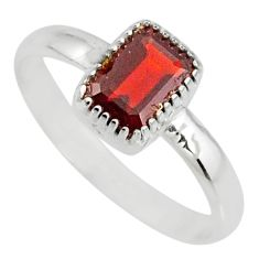 925 silver 1.57cts natural red garnet octagan solitaire ring size 7 r77177