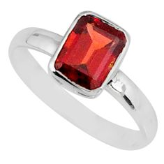 925 silver 2.23cts natural red garnet octagan solitaire ring size 8 r84040