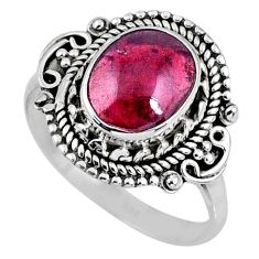 925 silver 3.76cts natural red garnet oval shape solitaire ring size 8 r58997