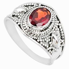 925 silver 2.01cts natural red garnet oval solitaire ring jewelry size 9 r68963