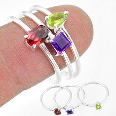 925 silver 2.82cts natural red garnet peridot amethyst 3 rings size 9 t17704