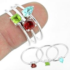 925 silver 3.14cts natural red garnet peridot blue topaz 3 rings size 9 t51480