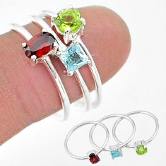 925 silver 3.13cts natural red garnet peridot topaz 3 rings size 8 t17739