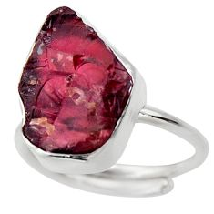 925 silver 8.69cts natural red garnet rough solitaire ring jewelry size 6 r29669