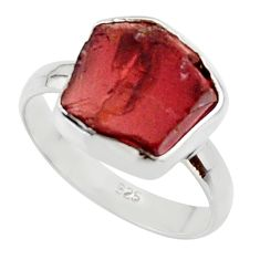 925 silver 6.72cts natural red garnet rough solitaire ring jewelry size 8 r49019