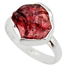 925 silver 6.70cts natural red garnet rough solitaire ring jewelry size 9 r49008