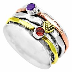 925 silver 0.75cts natural red garnet two tone spinner ring size 8.5 t12719