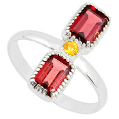 925 silver 3.59cts natural red garnet yellow citrine ring size 8.5 r77254