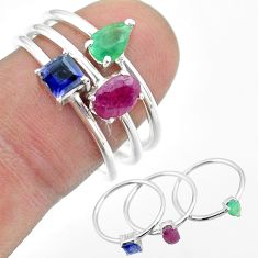 925 silver 2.82cts natural red ruby emerald sapphire 3 rings size 8 t50984