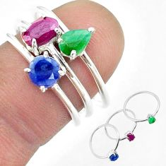 925 silver 3.09cts natural red ruby emerald sapphire 3 rings size 6.5 t50944