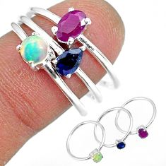 925 silver 3.42cts natural red ruby ethiopian opal 3 rings jewelry size 8 r92438