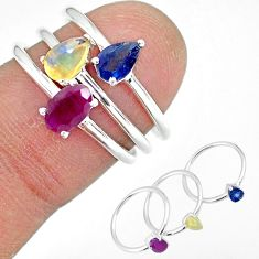 925 silver 3.07cts natural red ruby ethiopian opal 3 rings size 6 r92400