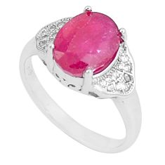 925 sterling silver 4.80cts natural red ruby oval white topaz ring size 6 c17806